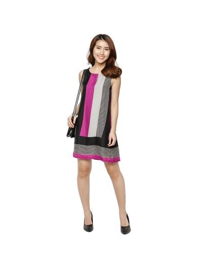 Đầm suông cách điệu lụa chiffon cao cấp Hoàng Khanh Fashion HK 399