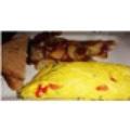 Trứng cuộn với bó xôi, oliu, cà chua bi, phô mai feta