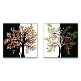 Đồng Hồ treo tường tranh bộ 2 hoa nghệ thuật 019CY_30V_DH
